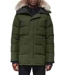 men's canada goose 'carson' slim fit hooded packable parka with genuine coyote fur trim, size x-small - green