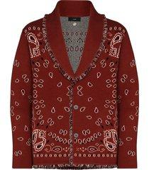 alanui bandana motif cashgora cardigan - red