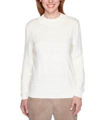 alfred dunner petite first frost beaded pullover sweater