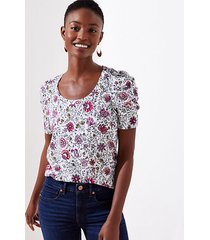 loft floral cinched sleeve statement tee