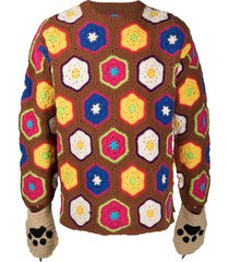 doublet hexagonal crochet jumper with mittens - brown