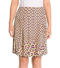 crepe de chine weave print pleated skirt