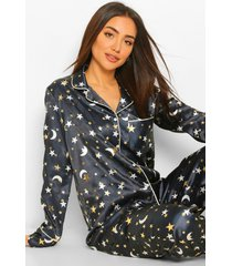 satijnen pyjama set met broek en metallic sterren en manen, navy