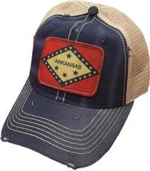 arkansas flag distressed trucker baseball cap blue