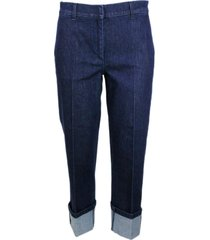 fabiana filippi cropped denim jeans trousers with high cuff edged with monili