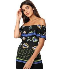 blusa colcci ajustada floral preta - preto - feminino - dafiti