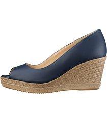 skor med kilklack klingel marinblå