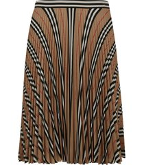 burberry pleated detail striped print skirt