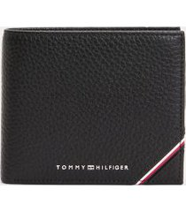 tommy hilfiger men's icon stripe credit card and coin wallet black -