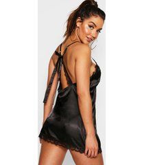 satin & lace bow back slip, black