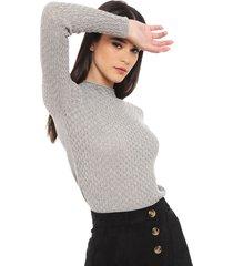 sweater io gris - calce ajustado
