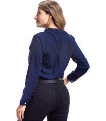 camisa azul para mujer corte clásico cuello v