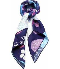 lenço smm acessorios floral azul bic