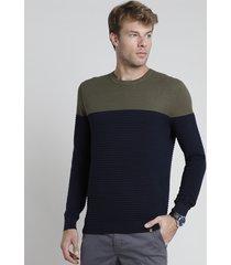 suéter masculino em tricô texturizado bicolor azul marinho