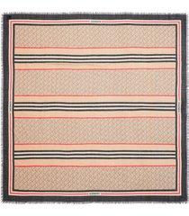 women's burberry large tb monogram stripe wool & silk gauze scarf