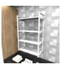 prateleira industrial lavanderia aço cor branco 60x30x98cm cxlxa cor mdf branco modelo ind48blav