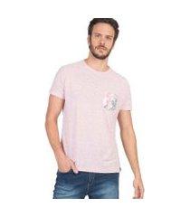 t-shirt com bolso estampado sublimado masculina