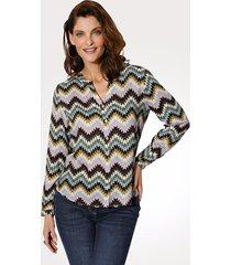 blouse mona lichtblauw::roze::multicolor