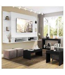 "painel para tv 60"" com aparador, mesa de centro e mesa lateral nairóbi multimóveis branco/preto"