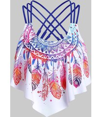 feather print strappy padded swim top