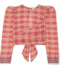 eden jacquard-trimmed checked fil coupé cotton-voile top