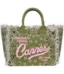 mc2 saint barth bandanna canvas bag with cannes embroidery