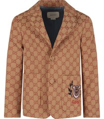 gucci biege jacket for boy with iconic double gg