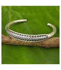 silver cuff bracelet, 'karen rustic' (thailand)