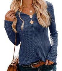 camicetta per donna a maniche lunghe scollo a v tinta unita a maglia