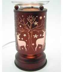 copper deer in christmas scene touch lamp oil/tart warmer - use with scentsy wax