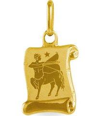 ciondolo in oro giallo pergamena segno zodiacale sagittario per unisex