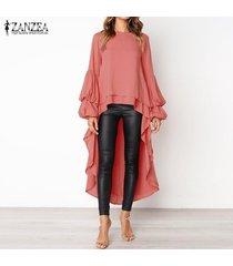 zanzea mujeres de cuello redondo casual de alta camisa tops bajos de la cascada de la blusa asimétrica plus -rojo