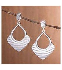 silver plated dangle earrings, 'draped elegance in silver' (peru)