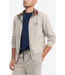 tommy hilfiger men's regular-fit th flex stretch herringbone track jacket