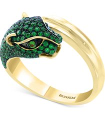 effy emerald (1 ct. t.w.) and tsavorite accent panther ring in 14k gold