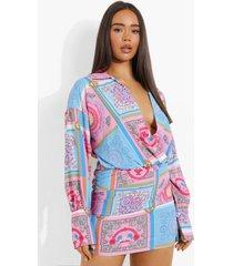 geplooide sjaal print jurk met laag decolleté, pink
