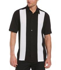 cubavera men's textured car-print contrast panel shirt