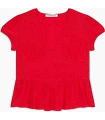 blusa short sleeve panel roja calvin klein