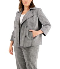 kasper plus size cross-dye faux-double-breasted jacket