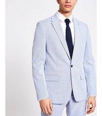 river island mens blue textured slim fit suit jacket
