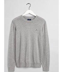 gant pullover ronde hals grey melange katoen 8050063