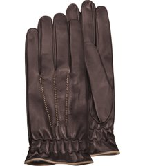 forzieri designer men's gloves, men's brown cashmere-lined calf leather gloves