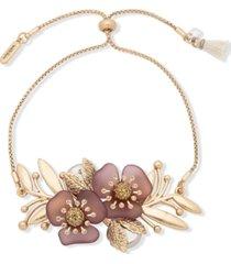 lonna & lillly gold-tone crystal & imitation pearl flower slider bracelet