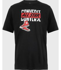 polera converse leave em hanging dangling chucks graphic t-shirt negro - calce regular