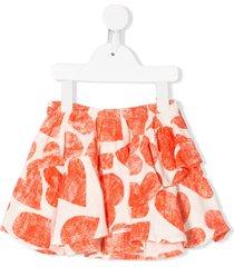 bobo choses heart print shorts - orange
