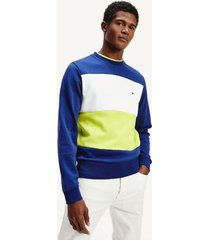 tommy hilfiger men's colorblock ponte sweatshirt blue ink / lemon lime /white - xs