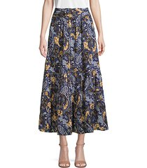 tiered paisley skirt