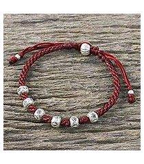silver beaded cord bracelet, 'karen wonder' (thailand)