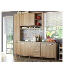 cozinha compacta completa multimóveis com 4 peças sicília 5812 argila/argila