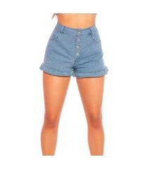sexy demin hoge taille shorts met knopen blauw